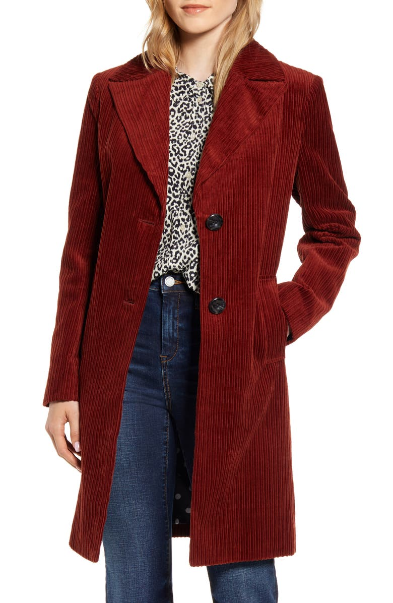 SAM EDELMAN Corduroy Reefer Coat, Main, color, 200