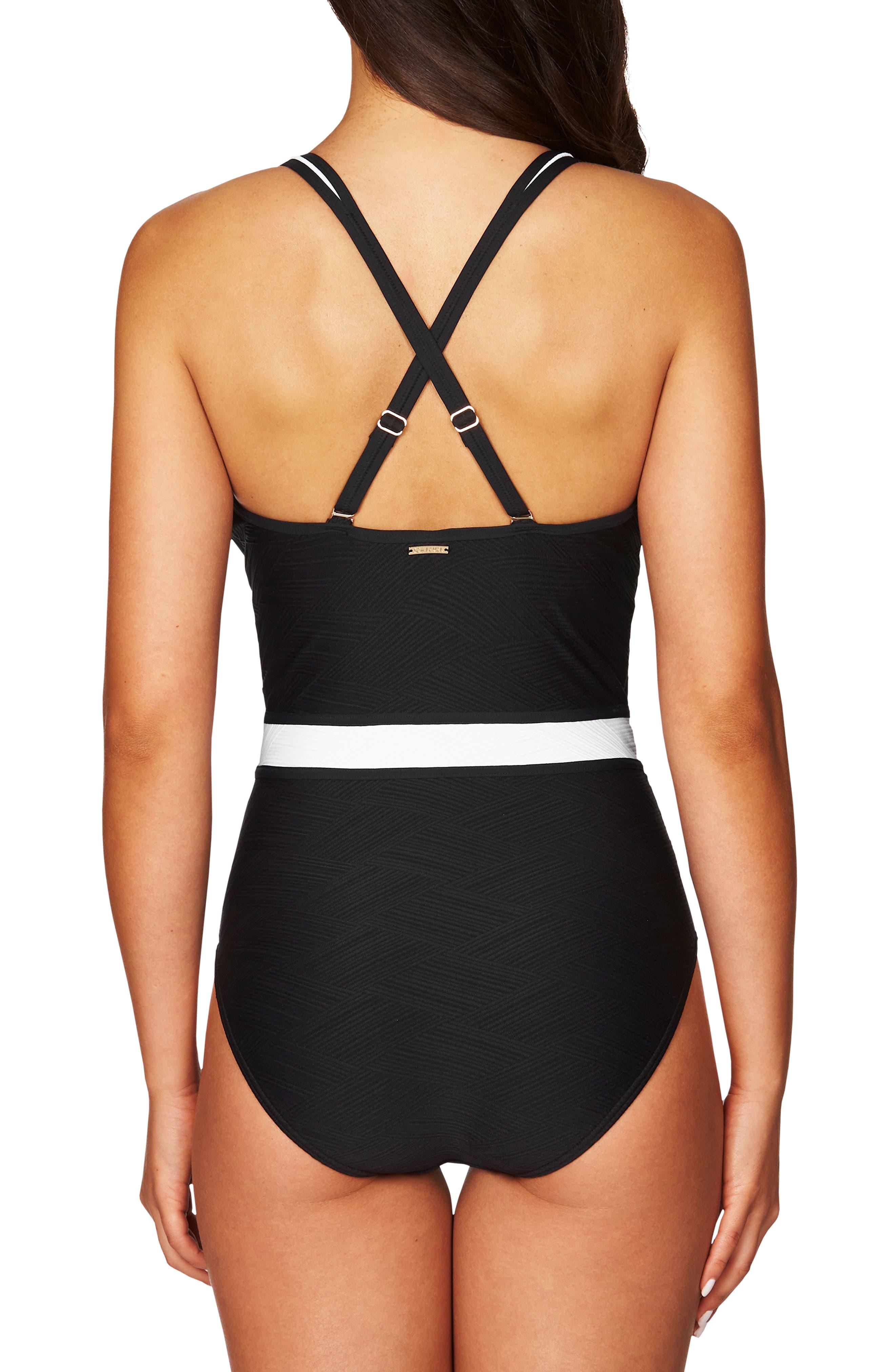 ,                             Spliced One-Piece Swimsuit,                             Alternate thumbnail 2, color,                             BLACK