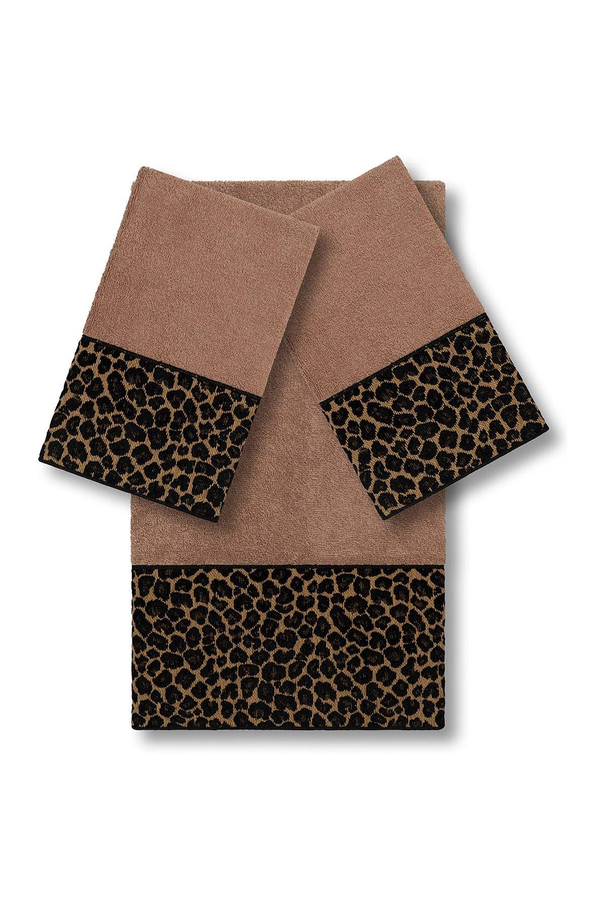 Image of LINUM HOME Spots 3-Piece Embellished Towel - Latte