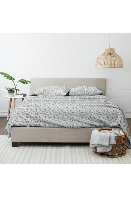 Image of IENJOY HOME Home Collection Premium Bontanical 4-Piece Queen Flannel Bed Sheet Set - Light Gray