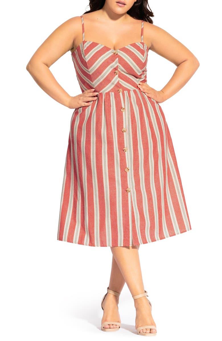 CITY CHIC Take Me Away Stripe Sundress, Main, color, HOLIDAY STRIPE