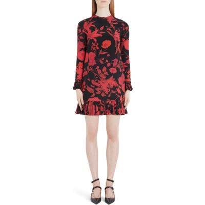 Valentino Floral Long Sleeve Silk Crepe De Chine Minidress, US / 40 IT - Black
