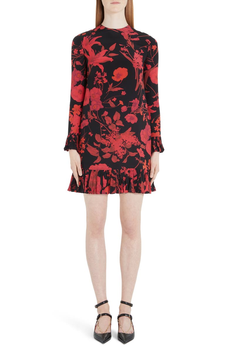 VALENTINO Floral Long Sleeve Silk Crêpe de Chine Minidress, Main, color, 0NR-BLACK/ RED