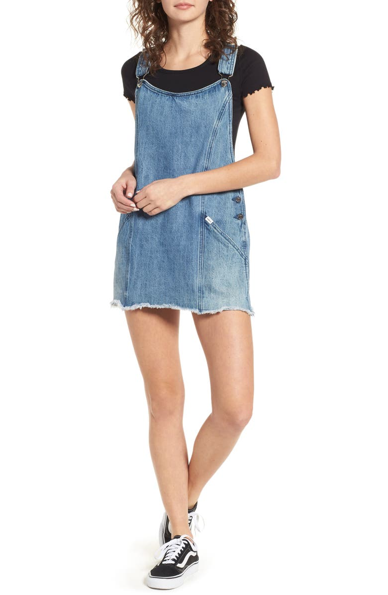 OBEY Debs Denim Overall Dress, Main, color, 400