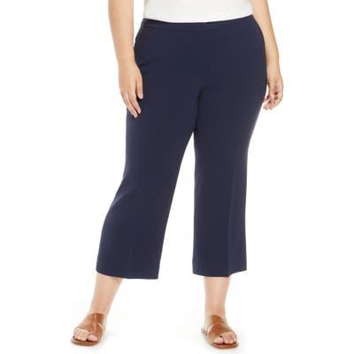 Plus Size Lafayette 148 New York Manhattan Finesse Crepe Crop Flare Pants, Blue