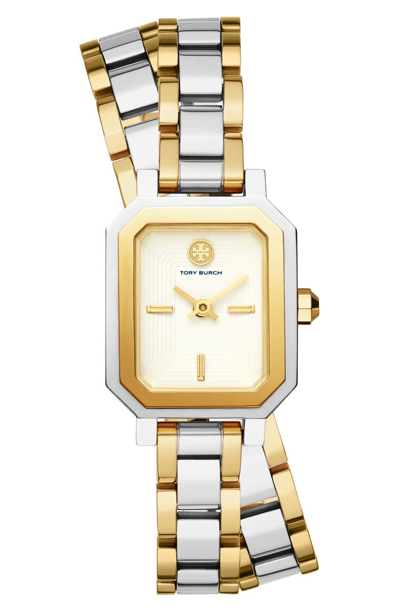 TORY BURCH Robinson Wrap Bracelet Watch, 22mm, Main, color, GOLD/ WHITE/ SILVER