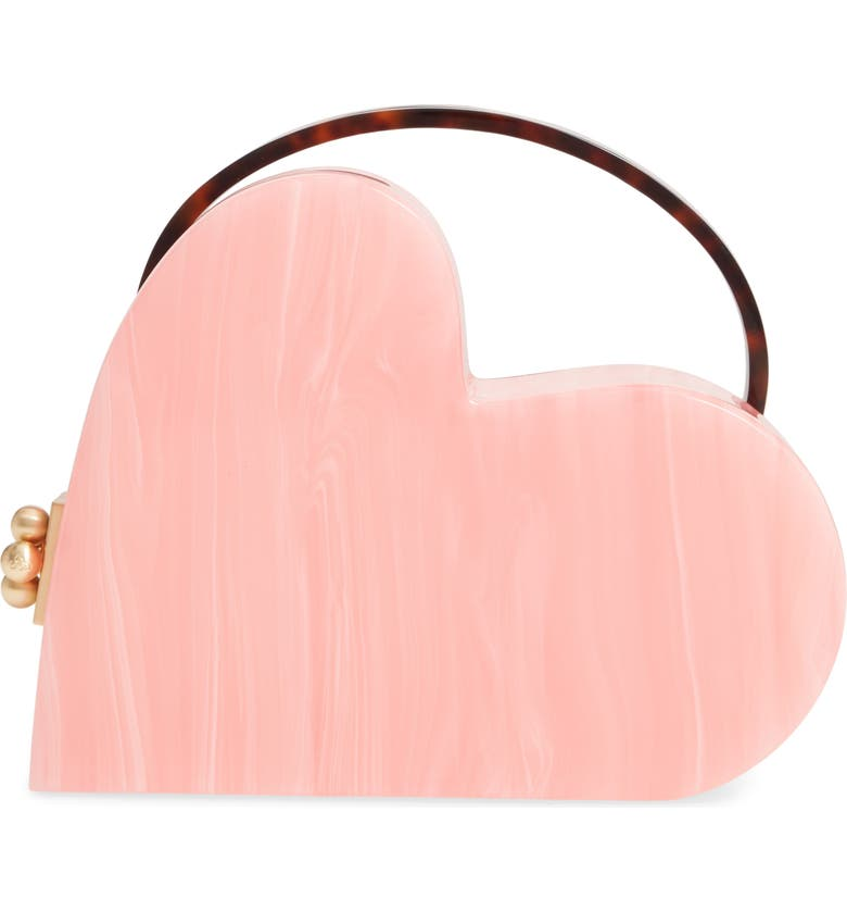 EDIE PARKER Heartly Acrylic Bag, Main, color, CANDY PINK