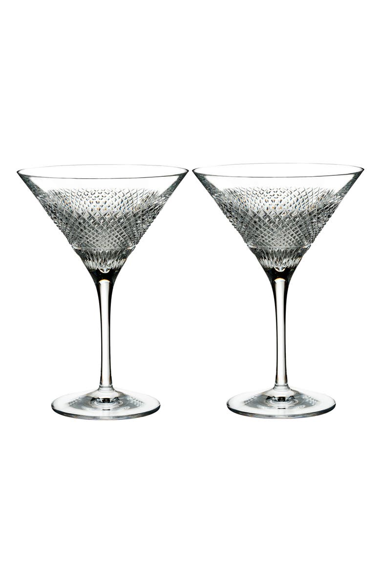 WATERFORD Diamond Line Set of 2 Lead Crystal Martini Glasses, Main, color, DIAMOND LINE