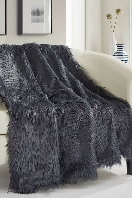 """Image of Chic Home Bedding Krista Shaggy Faux Fur Blanket - 50"""" x 60"""" - Grey"""