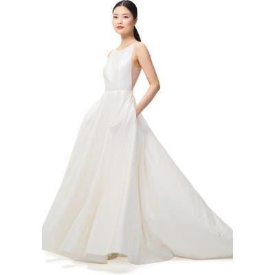 Jenny By Jenny Yoo Ashton Plunge Back A-Line Gown, Ivory