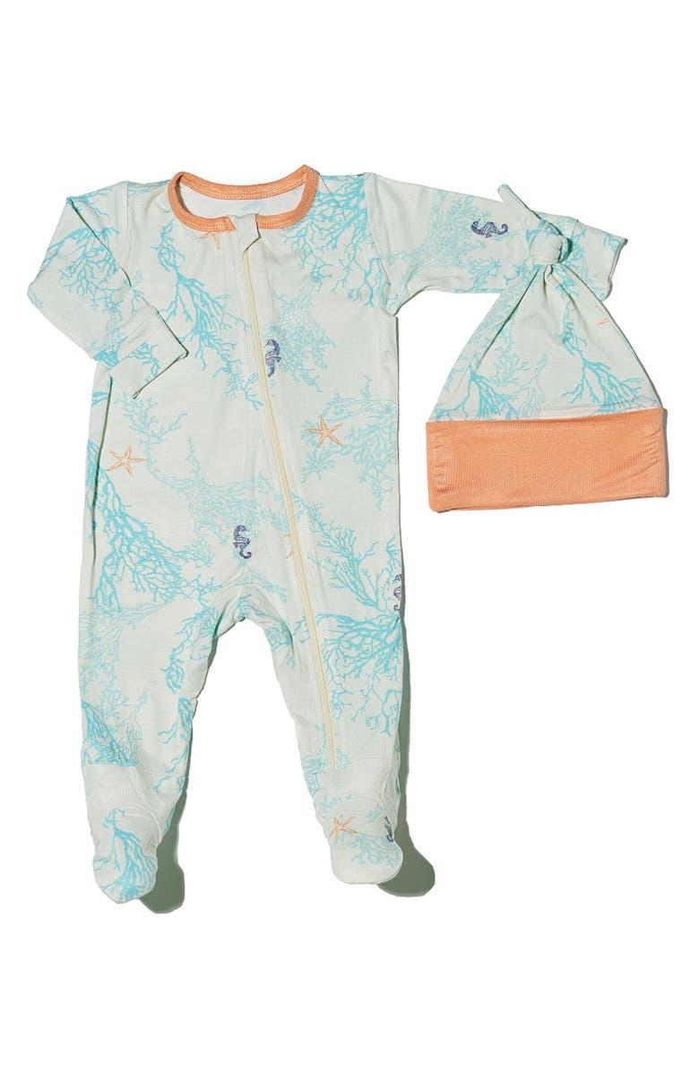 EVERLY BY BABY GREY Baby Grey Footie & Hat Set, Main, color, SEA HORSE