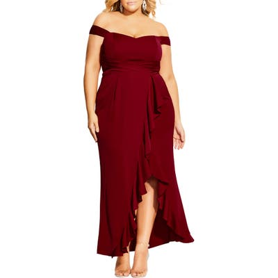 Plus Size City Chic Hypnotize Off The Shoulder Tulip Gown, Red