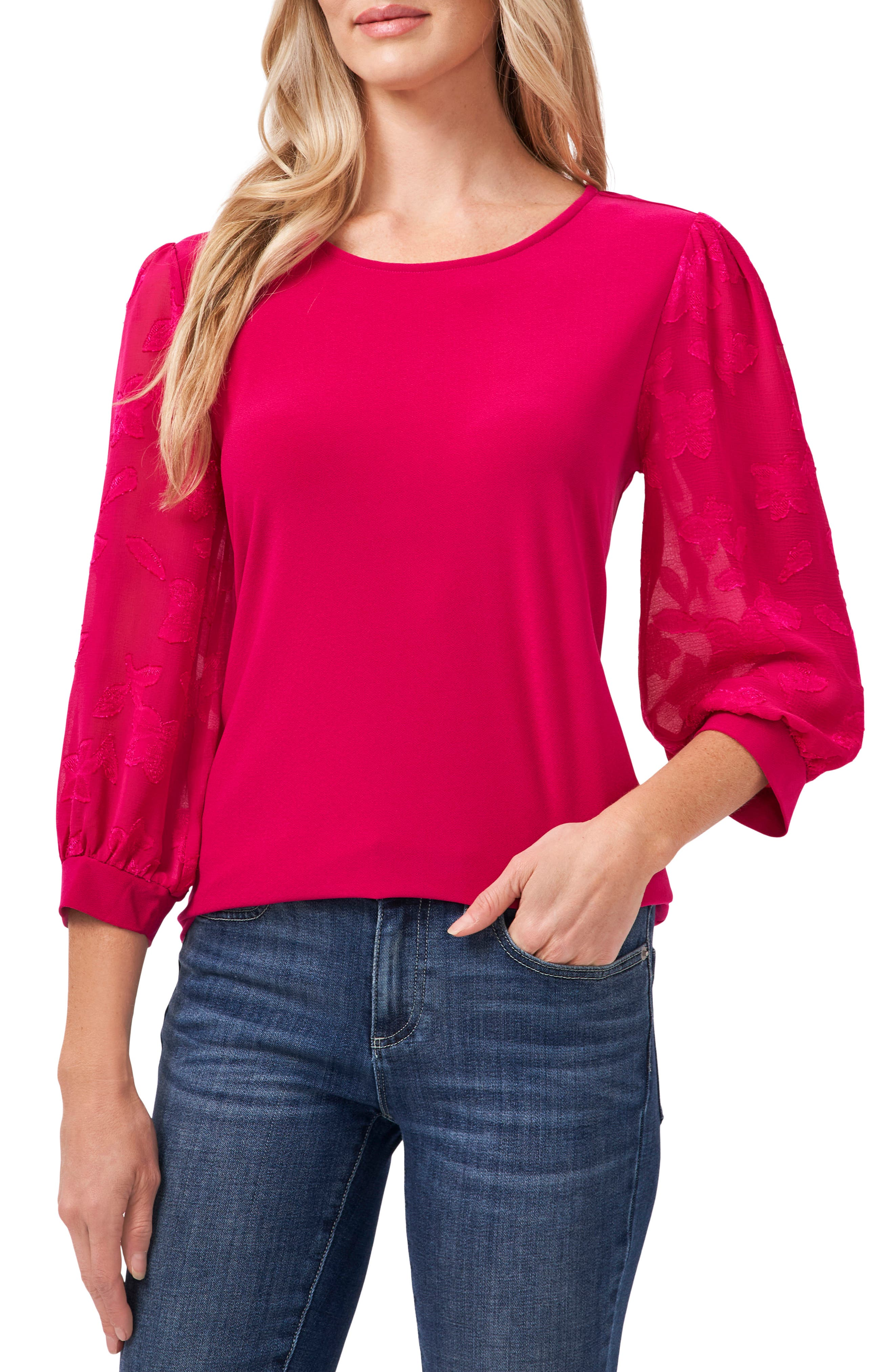 Lace Sleeve Stretch Crepe Blouse