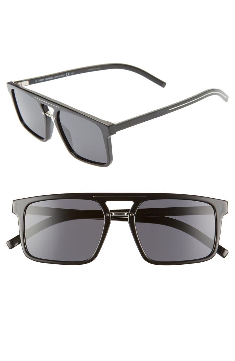 DIOR Homme Black Tie 54mm Sunglasses, Main, color, BLACK