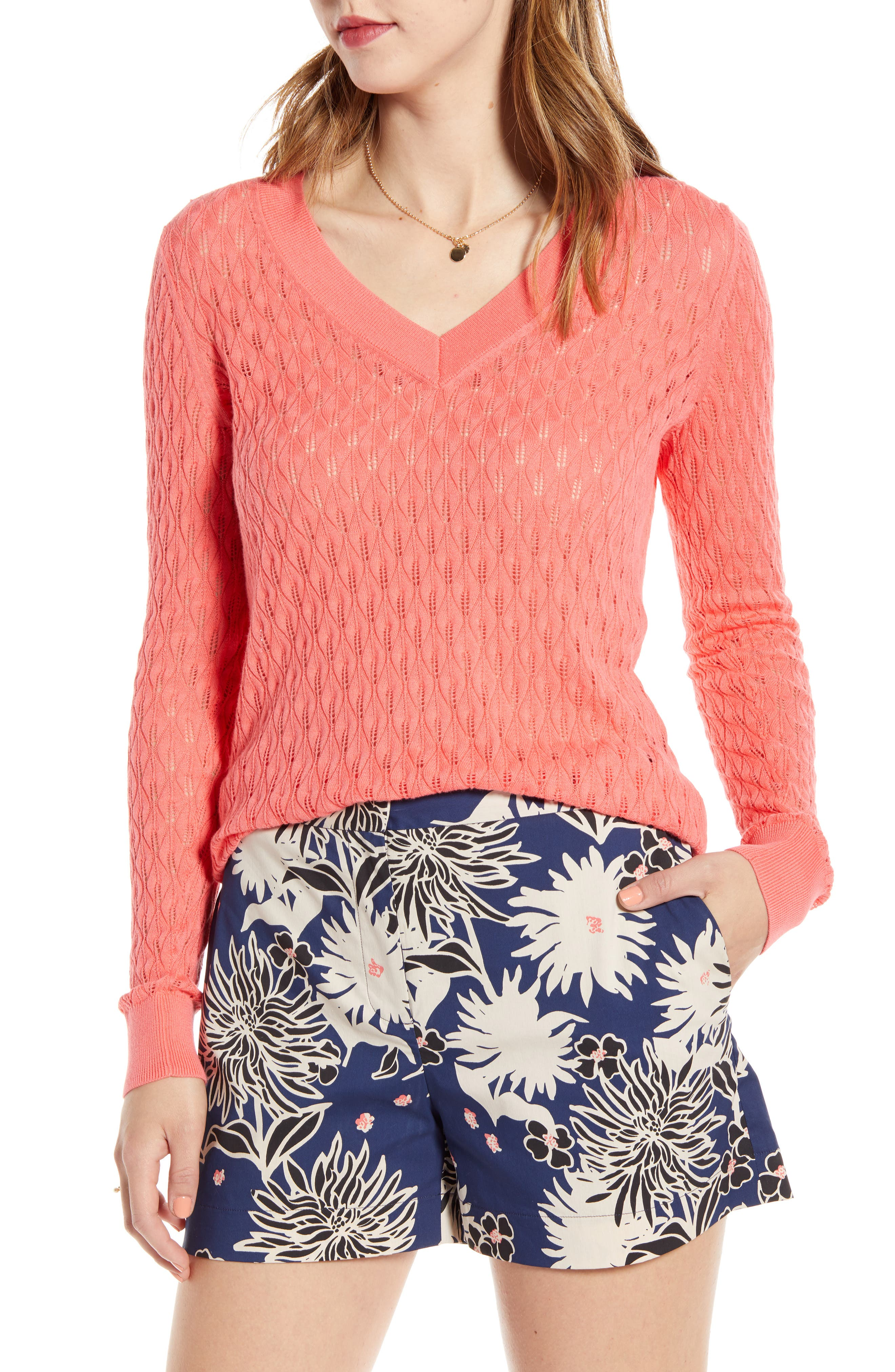 1901 V-Neck Pointelle Sweater, Coral