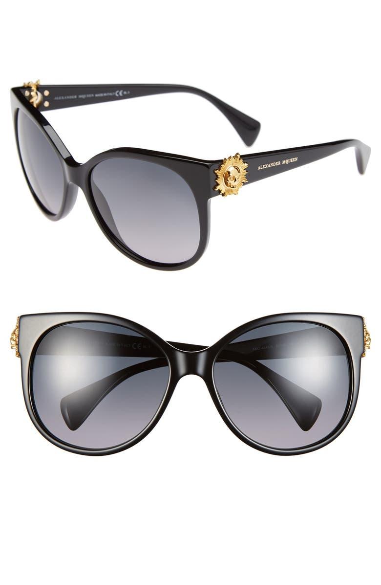 ALEXANDER MCQUEEN 58mm Retro Sunglasses, Main, color, 001