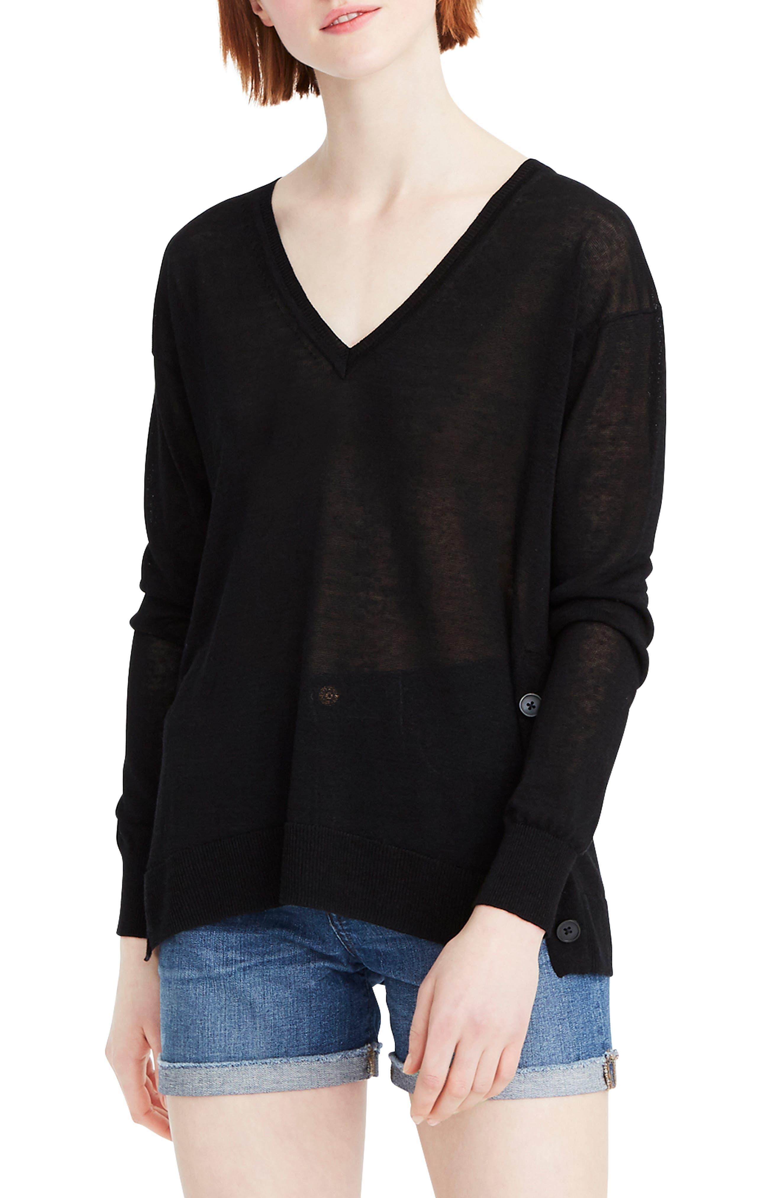 J.crew Side Button Linen Blend V-Neck Sweater, Black