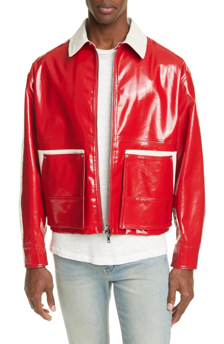 VALENTINO Coated Jacket, Main, color, RED/ WHITE