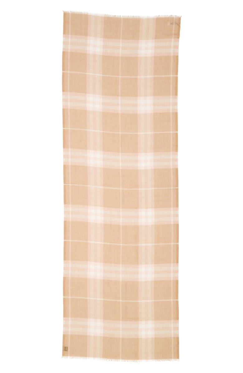 BURBERRY Giant Check Wool & Silk Scarf, Main, color, FAWN
