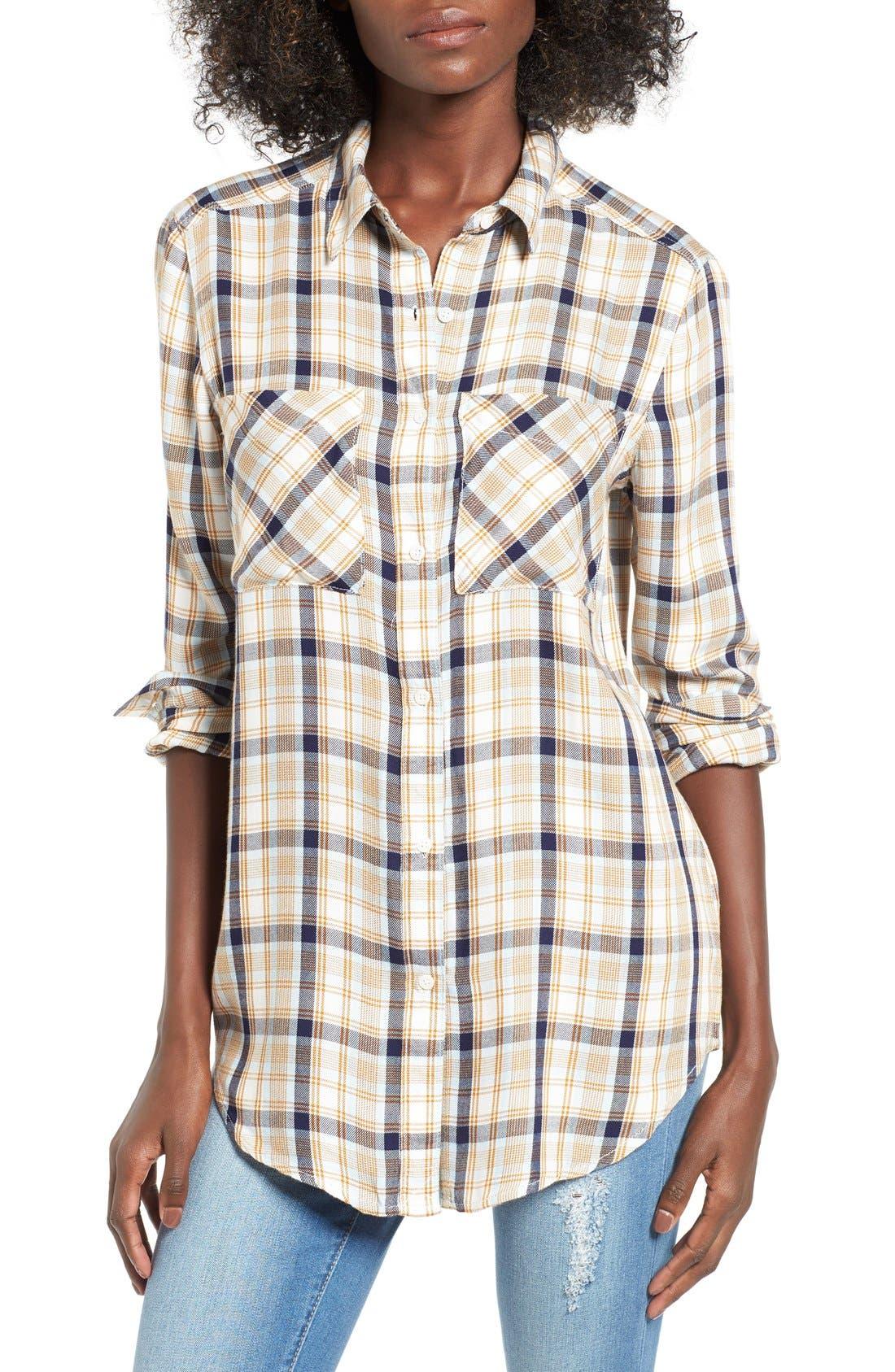 ,                             Plaid Tunic Shirt,                             Main thumbnail 43, color,                             900