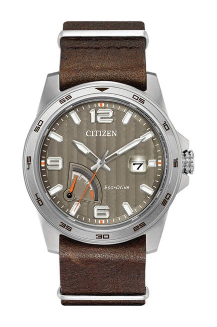 Image of Citizen Men's Eco-Drive Leather Strap Watch, 42mm