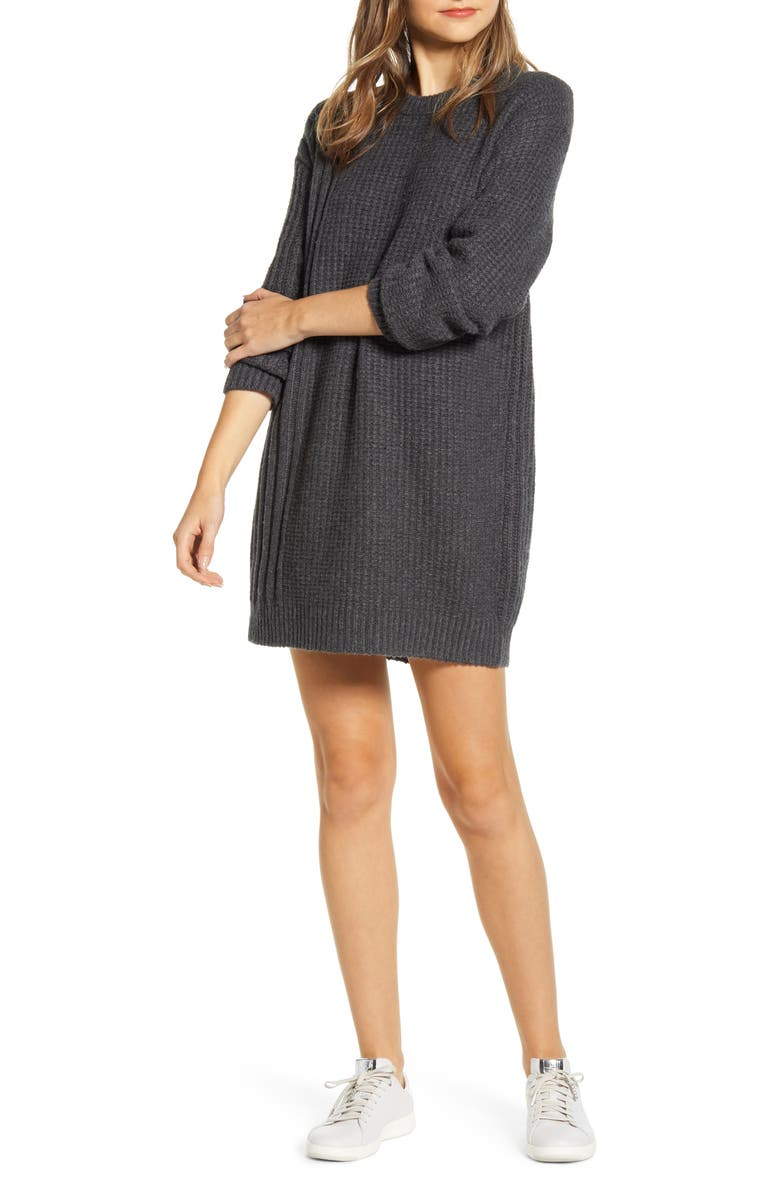 LOU & GREY Long Sleeve Crewneck Sweater Dress, Main, color, CHARCOAL