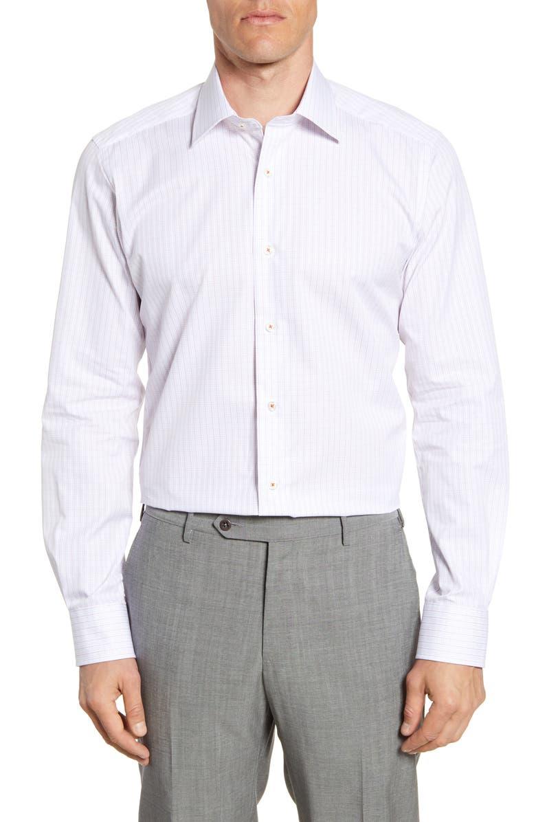 DAVID DONAHUE Trim Fit Check Dress Shirt, Main, color, MELON