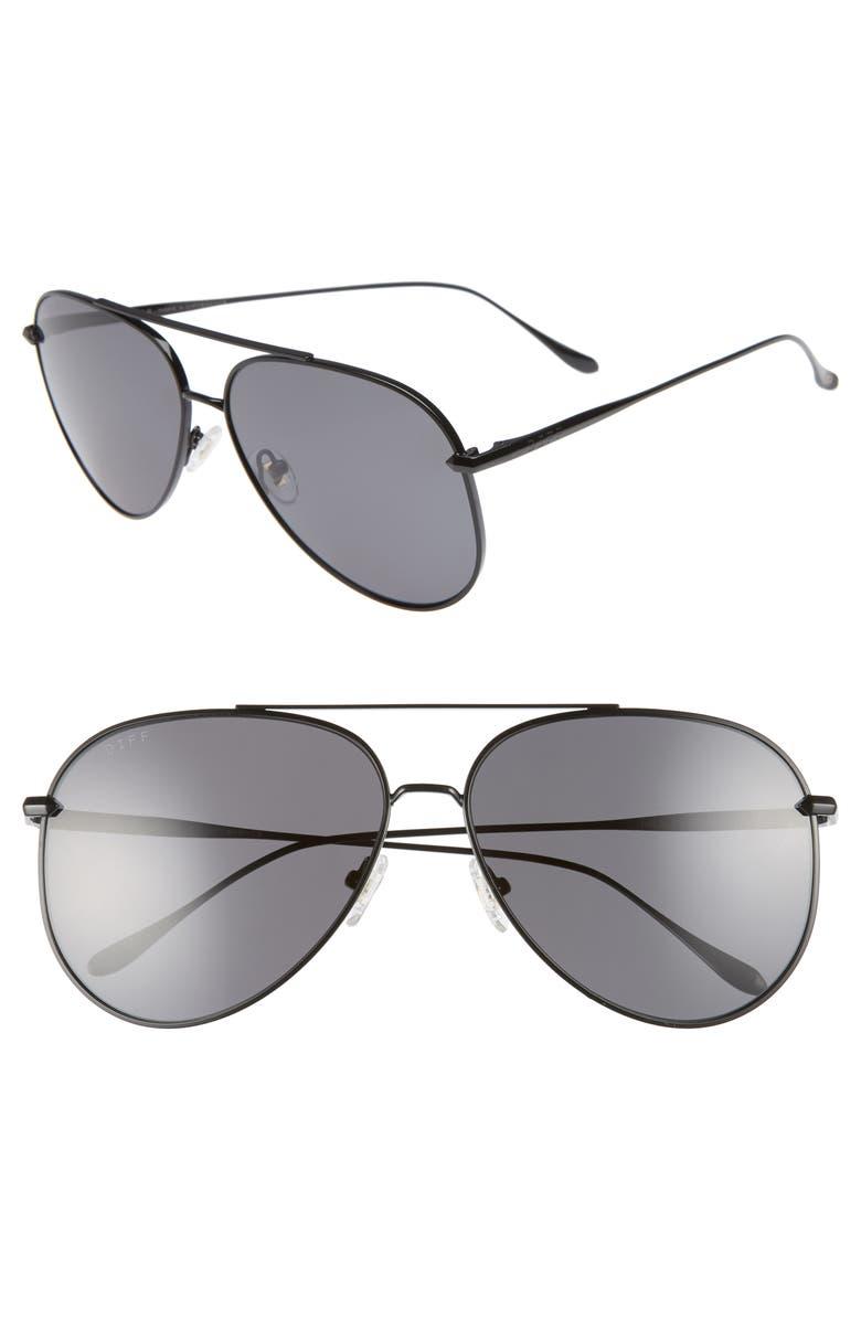 DIFF Nala 62mm Oversize Polarized Aviator Sunglasses, Main, color, 001
