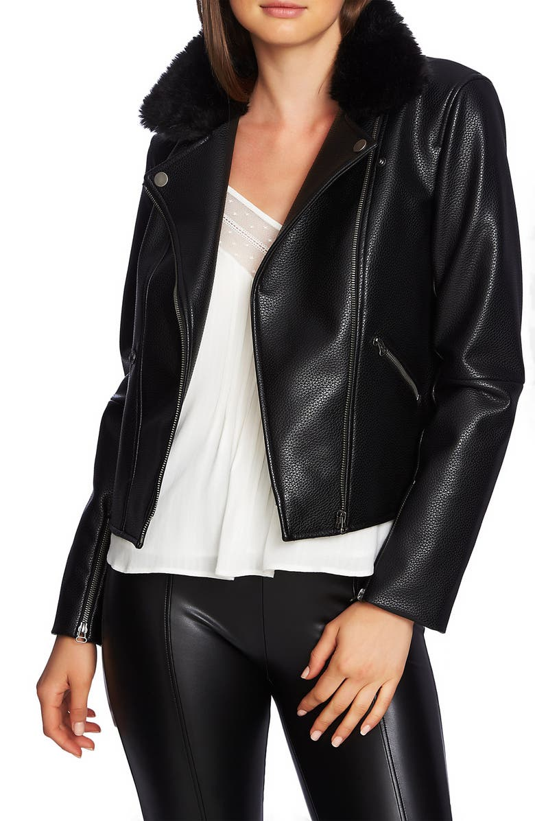 1.STATE Faux Fur Collar Moto Jacket, Main, color, 011