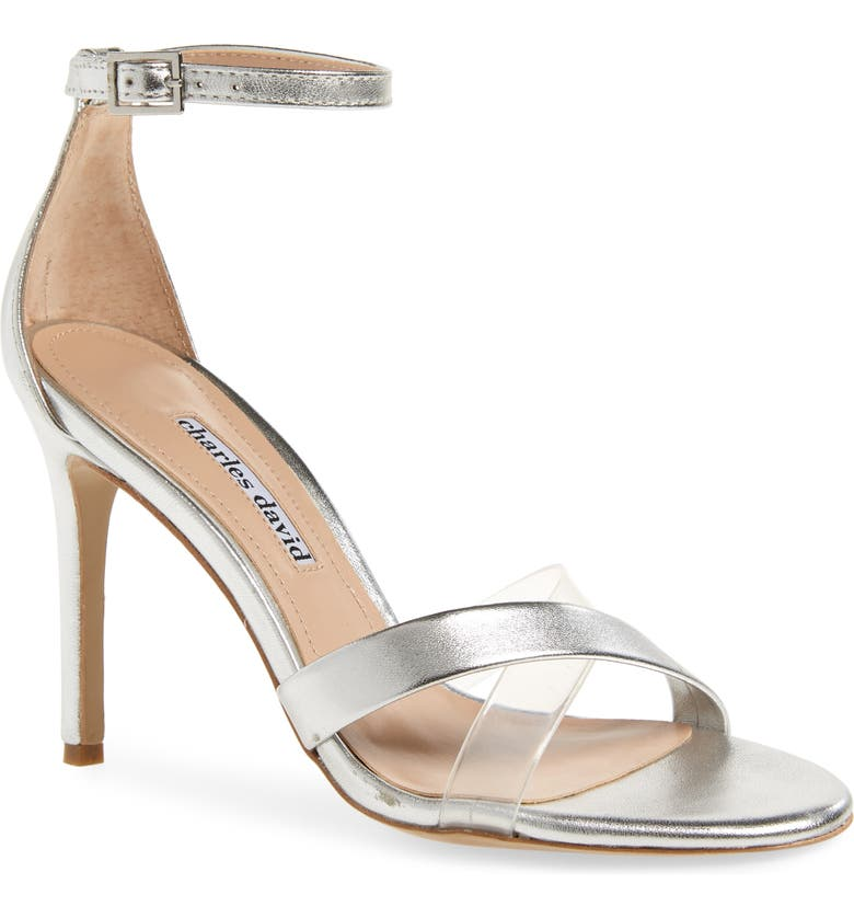 CHARLES DAVID Courtney Sandal, Main, color, SILVER/ CLEAR LEATHER