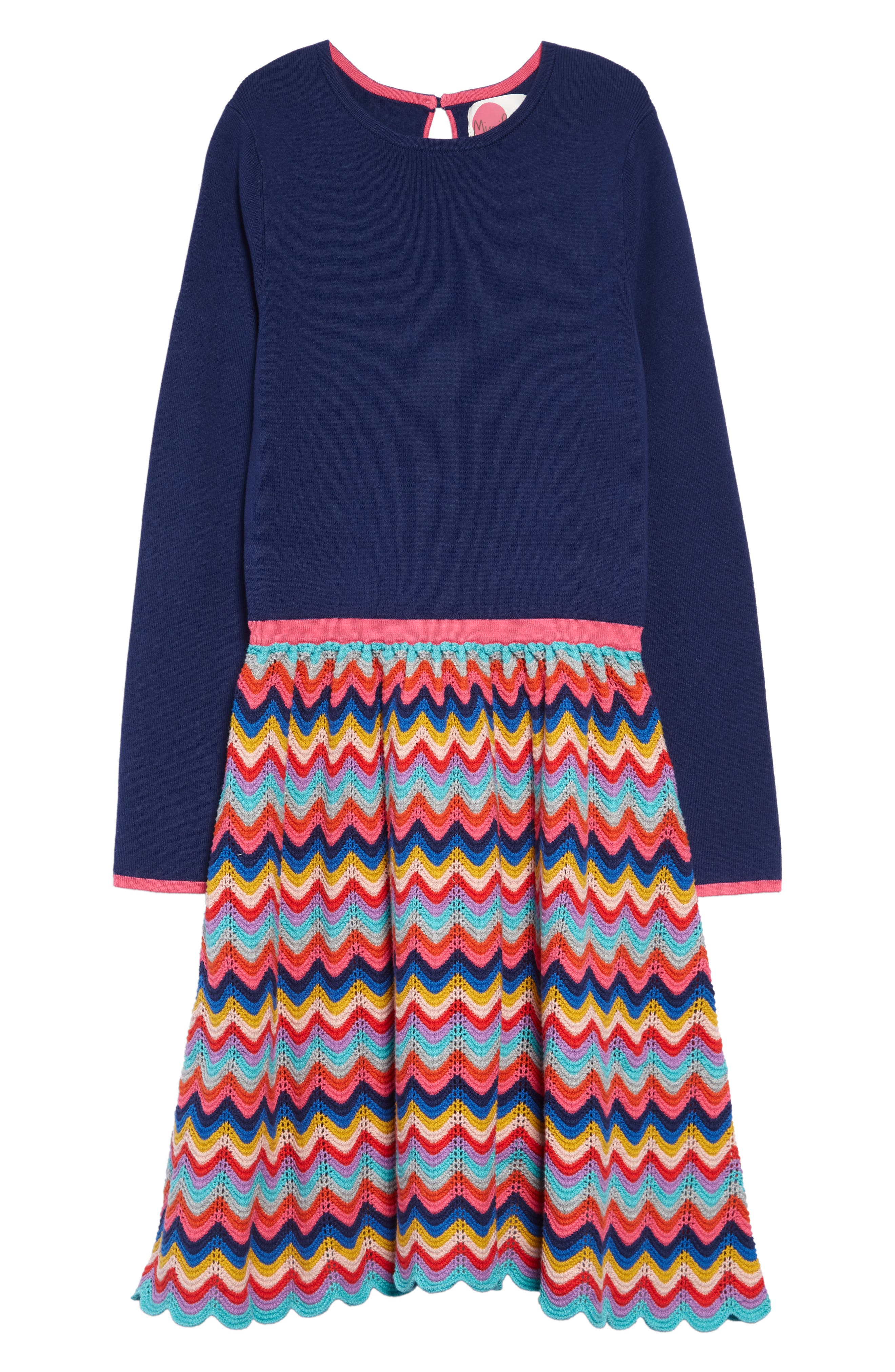 60s 70s Kids Costumes & Clothing Girls & Boys Toddler Girls Mini Boden Rainbow Knit Long Sleeve Dress Size 3-4Y - Blue $60.00 AT vintagedancer.com