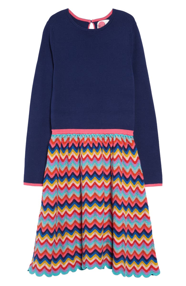 MINI BODEN Rainbow Knit Long Sleeve Dress, Main, color, NAV NAVY RAINBOW