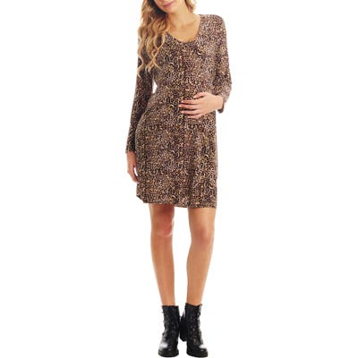Everly Grey Brigida Long Sleeve Maternity/nursing Wrap Dress, Brown