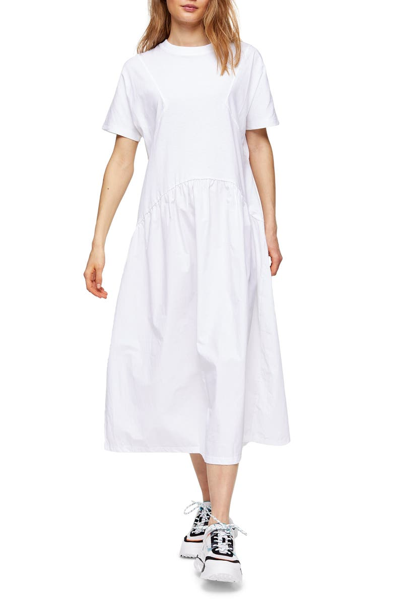 TOPSHOP Poplin Cotton Midi Dress, Main, color, 100
