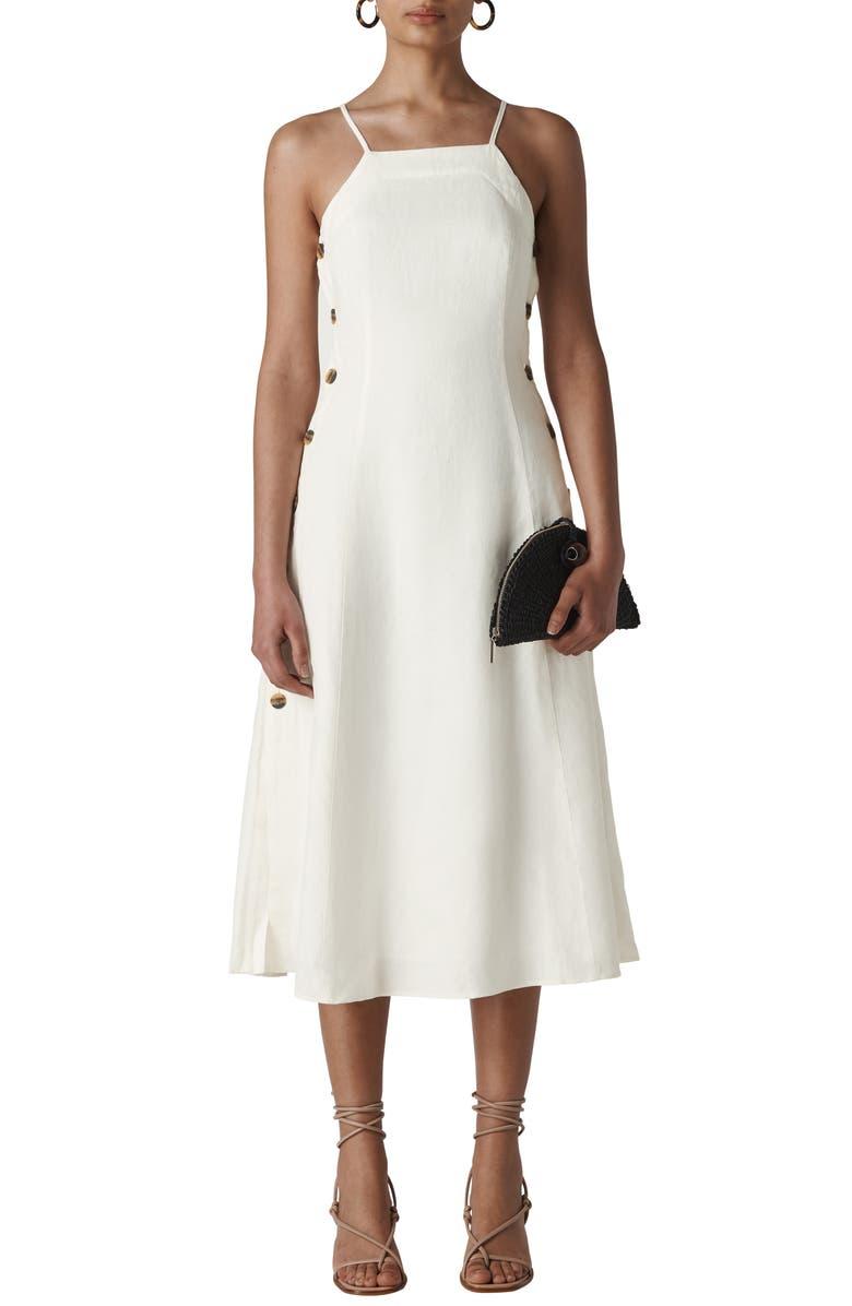 WHISTLES Nina Button Detail Linen Sundress, Main, color, WHITE