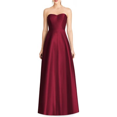 Alfred Sung Strapless Sateen Gown, Burgundy