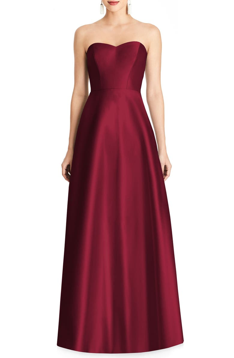 ALFRED SUNG Strapless Satin A-Line Gown, Main, color, BURGUNDY
