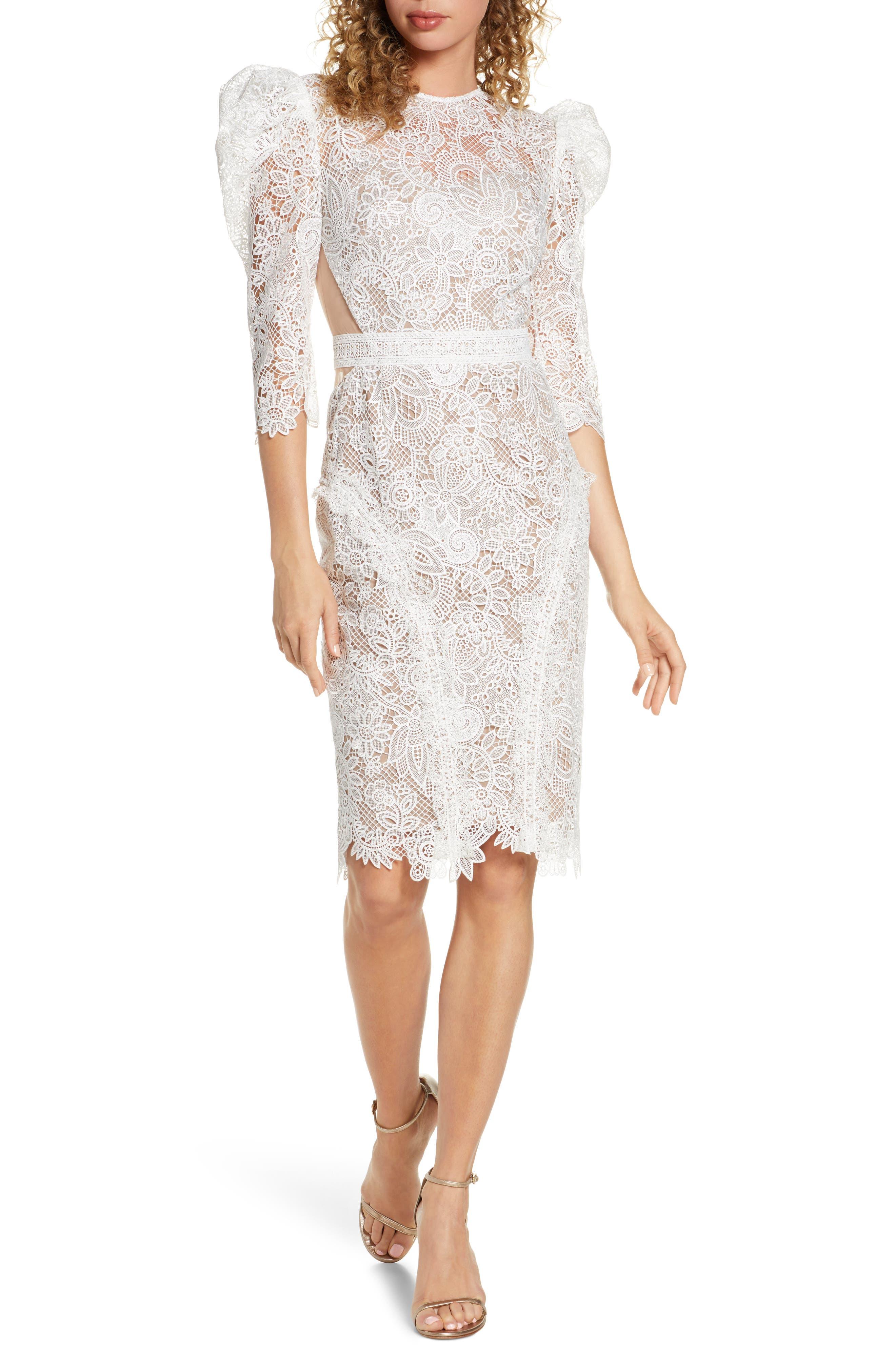 Bronx And Banco Medeleine Puff Sleeve Lace Dress, White