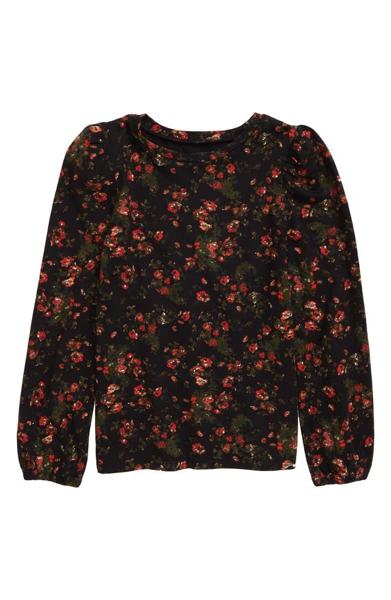 SOMETHING NAVY Cozy Print Puff Sleeve Top, Main, color, 001