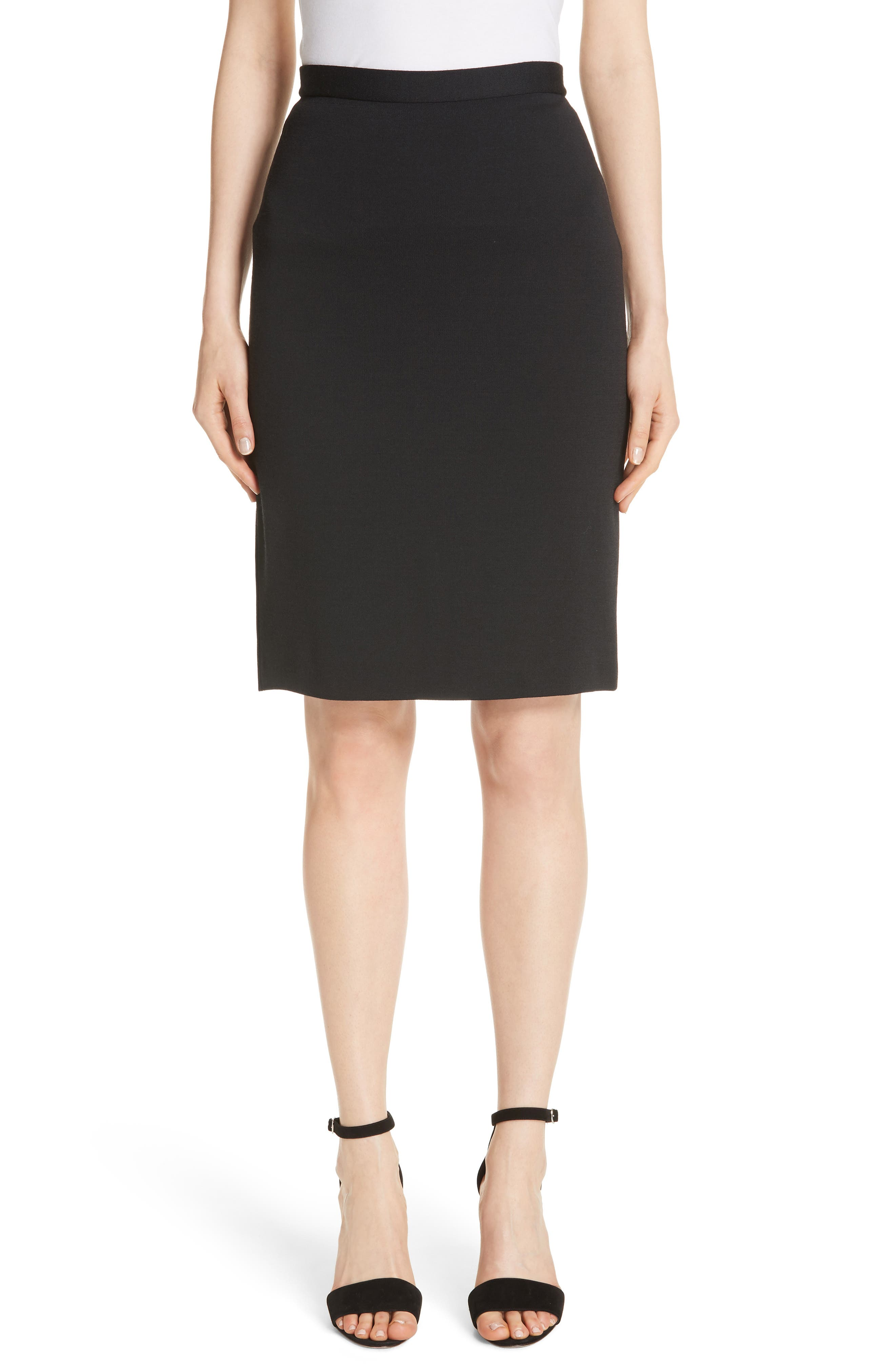 A signature knit shapes a sleek pencil skirt styled with a slit back hem. Style Name: St. John Collection Milano Wool Blend Pencil Skirt. Style Number: 5598088. Available in stores.
