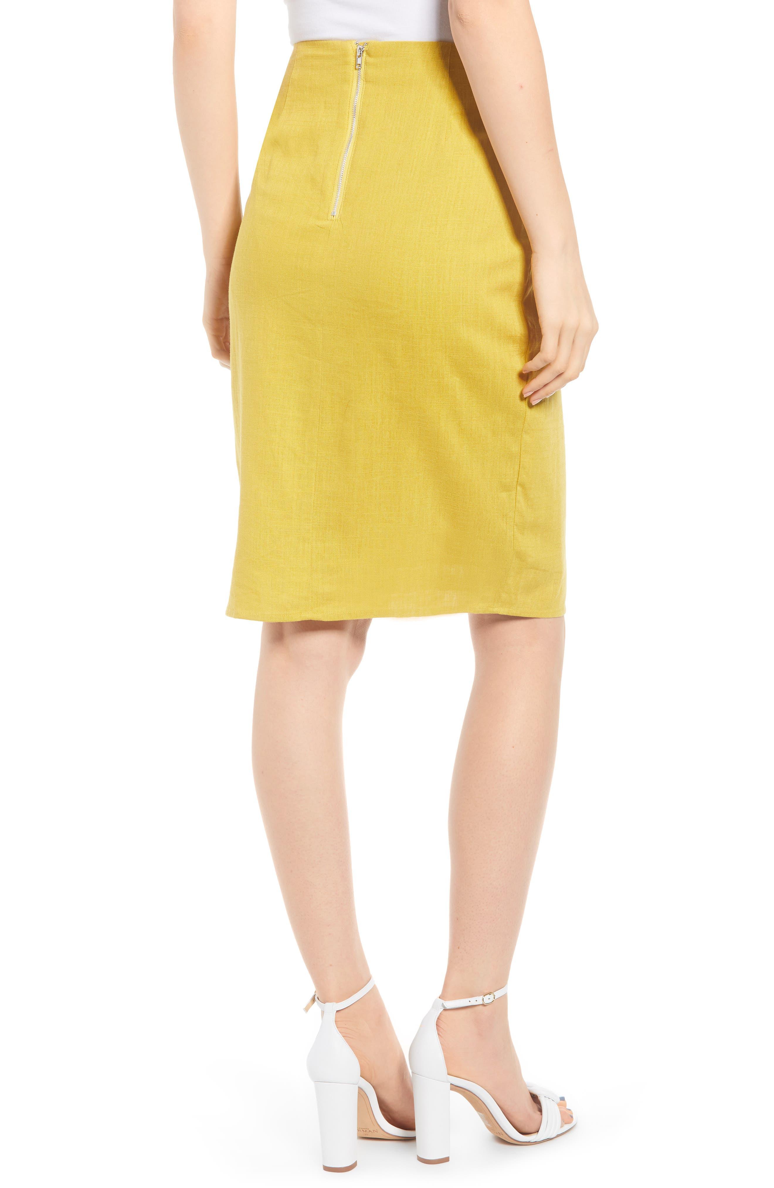 ,                             Side Button Cotton & Linen Midi Skirt,                             Alternate thumbnail 2, color,                             YELLOW