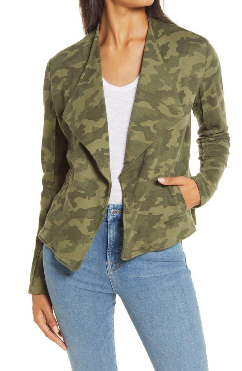 CASLON<SUP>®</SUP> Drape Collar Knit Blazer, Main, color, OLIVE CAMO PRINT