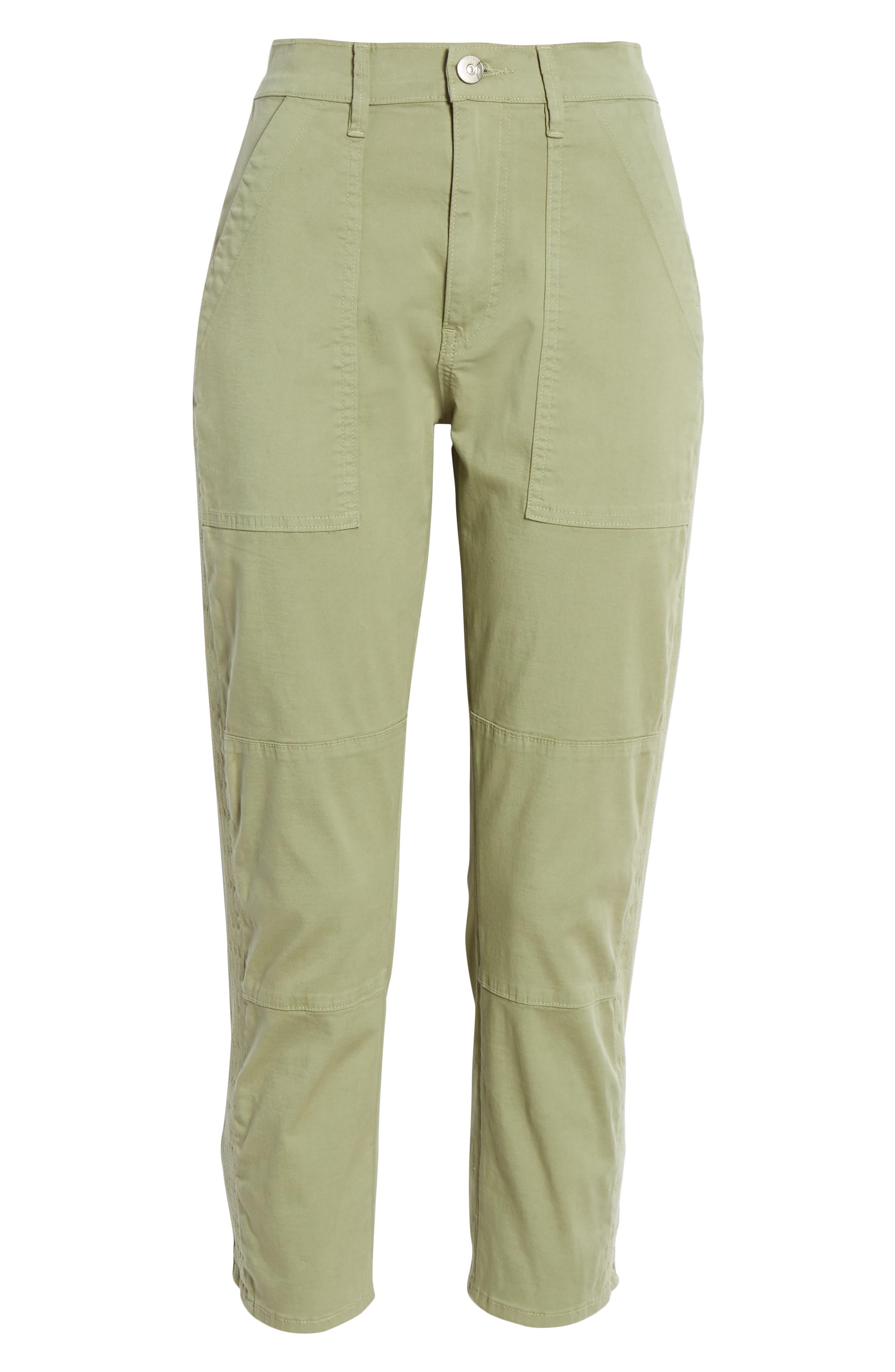 ,                             Simone Twill Crop Straight Leg Trousers,                             Alternate thumbnail 6, color,                             LIGHT MOSS