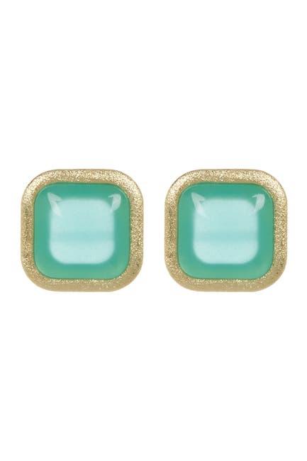 Image of Rivka Friedman Cushion Cab Aqua Chalcedony Crystal Stud Earrings