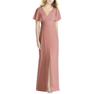 Social Bridesmaids Split Sleeve Chiffon Gown, Pink