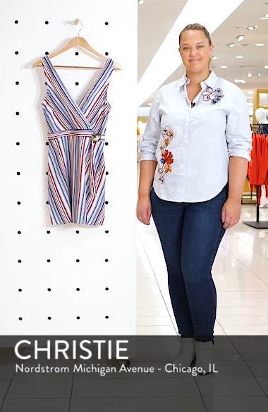 Stripe Belted Linen Blend Dress, sales video thumbnail