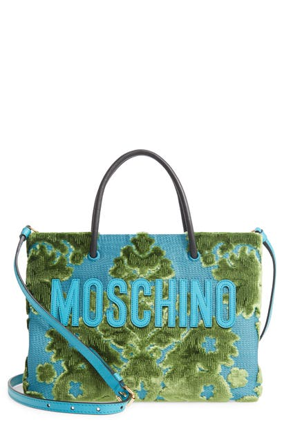 Moschino Tapestry Chenille Jacquard Shopping Bag In Fantasy Print Light Blue