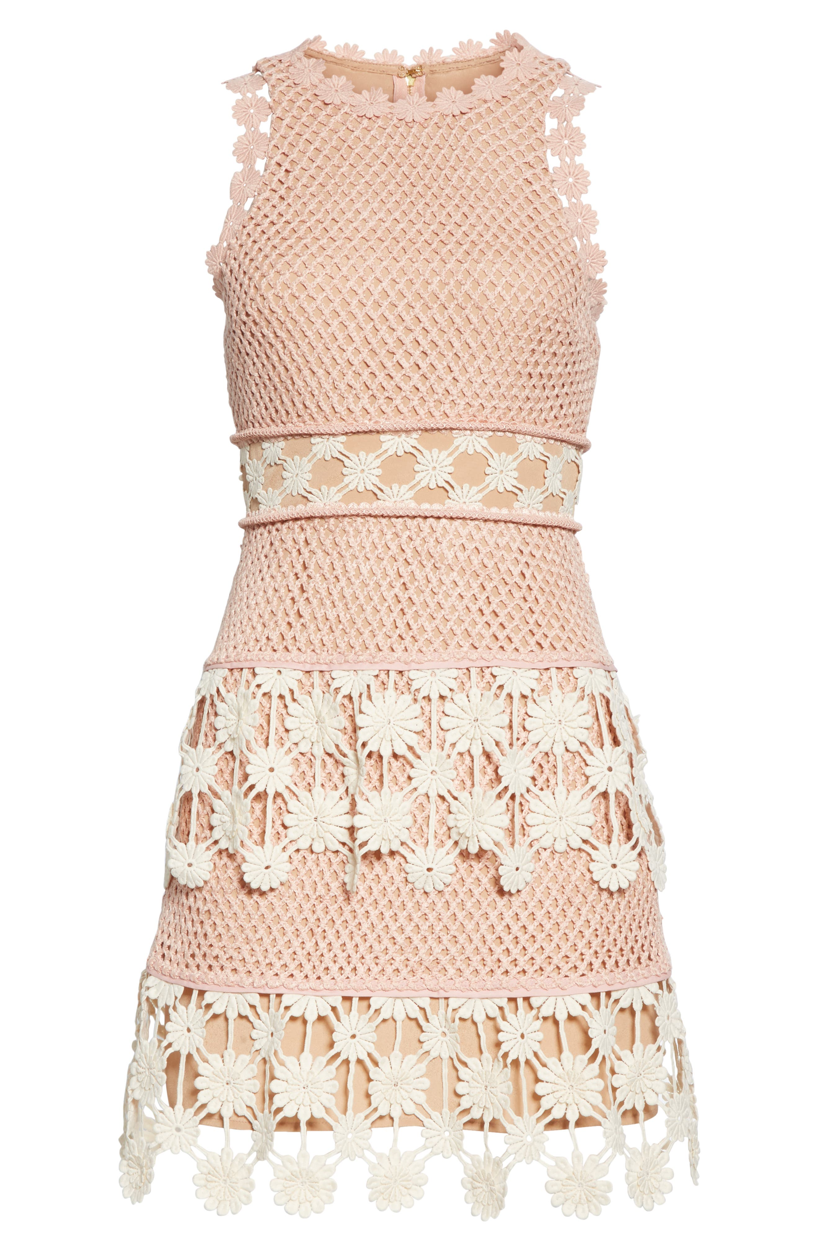 ,                             3D Floral Crochet Lace Minidress,                             Alternate thumbnail 6, color,                             PINK ECRU
