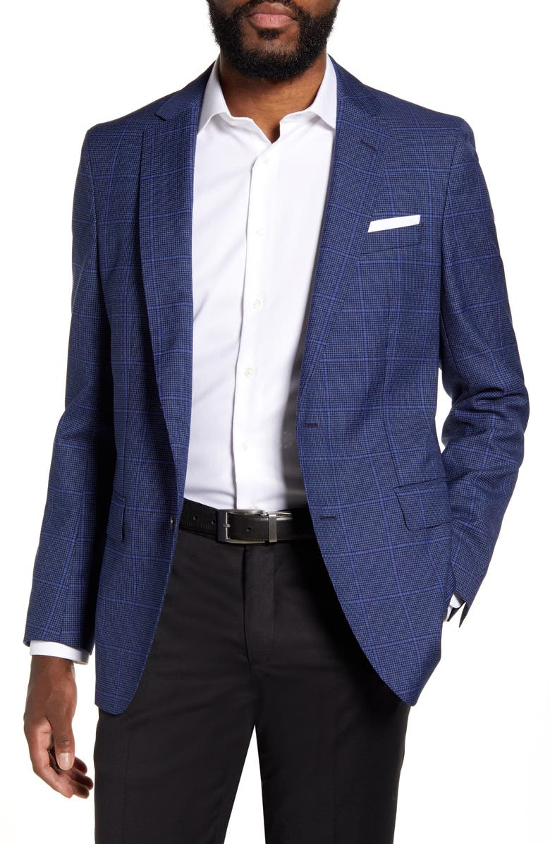 BOSS Bolder Trim Fit Windowpane Wool Sport Coat, Main, color, DARK BLUE