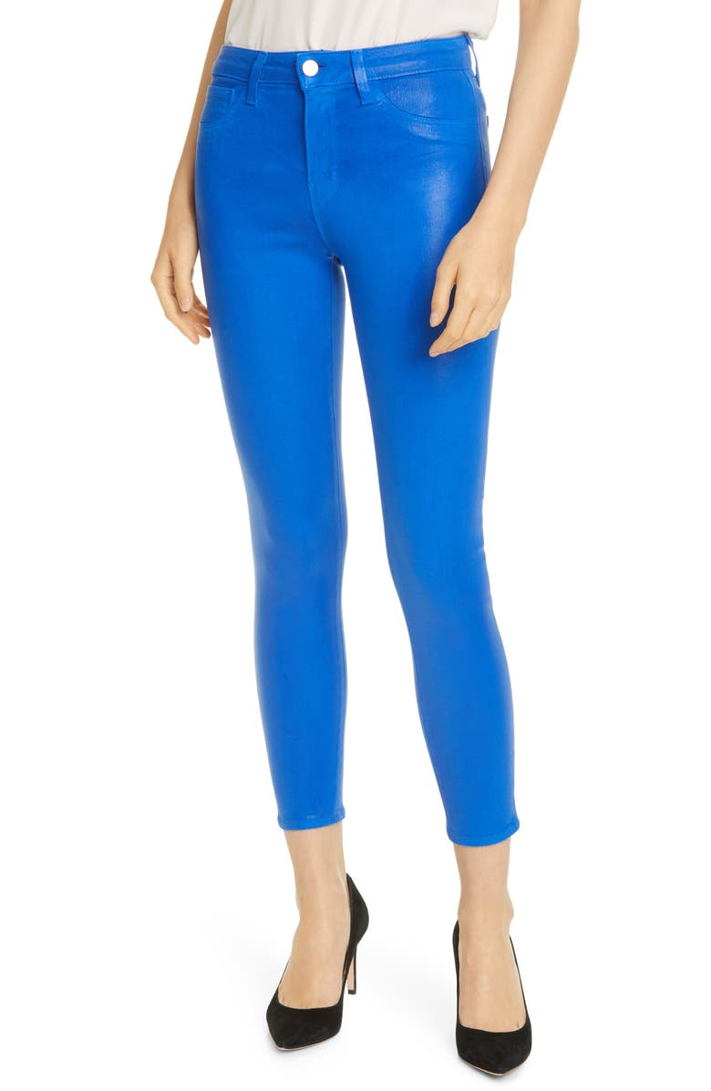 L'AGENCE Margot Coated Crop Skinny Jeans, Main, color, RIVIERA BLUE COATED
